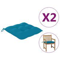 vidaXL Jastuci za stolice 2 kom svjetloplavi 50 x 50 x 7 cm od tkanine