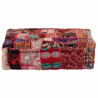 vidaXL Tabure s patchworkom četvrtasti pamučni 50 x 50 x 12 cm crveni