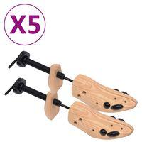 vidaXL Napinjači za cipele 5 pari veličina 41 - 46 od masivne borovine