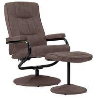 vidaXL TV fotelja s osloncem za noge od umjetne brušene kože smeđa