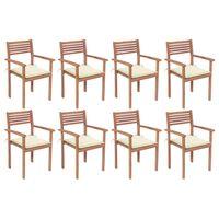 vidaXL Složive vrtne stolice s jastucima 8 kom od masivne tikovine