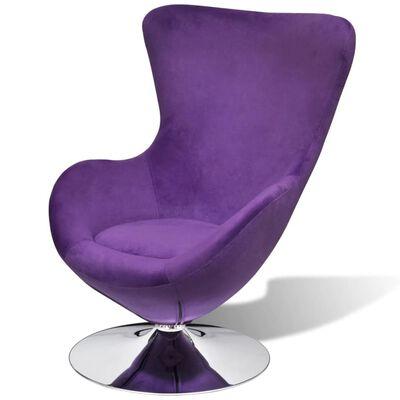 vidaXL Okretna jajolika stolica s jastukom ljubičasta baršunasta
