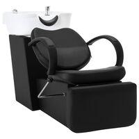 vidaXL Salonska stolica s umivaonikom crno-bijela od umjetne kože