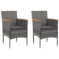 vidaXL Vrtne blagovaonske stolice od poliratana 2 kom sive