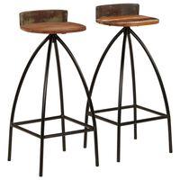 vidaXL Barski stolci 2 kom od masivnog obnovljenog drva