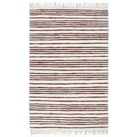 vidaXL Ručno tkani tepih Chindi od pamuka 160 x 230 cm bordo-bijeli