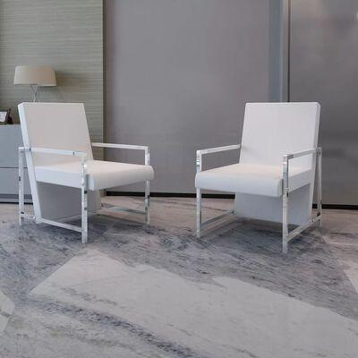 vidaXL Fotelje od umjetne kože s kromiranim okvirom 2 kom bijele