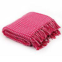 vidaXL Pamučni pokrivač na kvadratiće 160x210 cm ružičasti