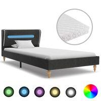 vidaXL Krevet od jute s LED svjetlom i madracem tamnosivi 90 x 200 cm