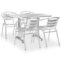vidaXL 5-dijelni vrtni blagovaonski set aluminijski srebrni