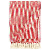 vidaXL Pamučni pokrivač 125 x 150 cm crveni
