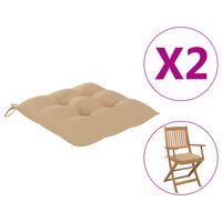 vidaXL Jastuci za stolice 2 kom bež 40 x 40 x 7 cm od tkanine