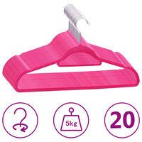 vidaXL 20-dijelni set vješalica protuklizni ružičasti baršunasti