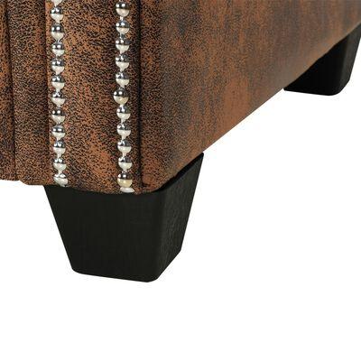 vidaXL Kutna garnitura Chesterfield od umjetne brušene kože smeđa
