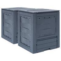 vidaXL Vrtni komposteri 2 kom sivi 60 x 60 x 73 cm 520 L