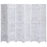 vidaXL Sobna pregrada sa 6 panela siva 210 x 165 cm drvena