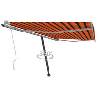 vidaXL Samostojeća tenda na ručno uvlačenje 450x300cm narančasto-smeđa