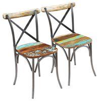 vidaXL Blagovaonske stolice 2 kom od masivnog obnovljenog drva