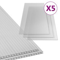 vidaXL Polikarbonatne ploče 5 kom 4,5 mm 150 x 65 cm