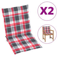 vidaXL Jastuci za vrtne stolice 6 kom crveni karirani 100 x 50 x 4 cm