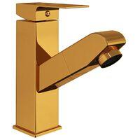 vidaXL Slavina za umivaonik s funkcijom izvlačenja zlatna 157 x 172 mm