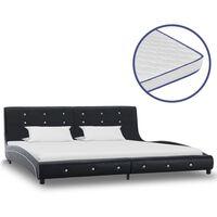 vidaXL Krevet od umjetne kože s memorijskim madracem crni 180 x 200 cm