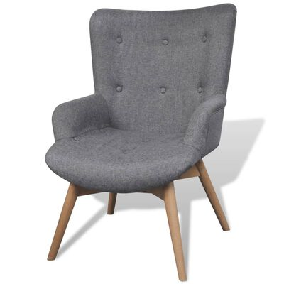 vidaXL Fotelja s Osloncem za Noge Siva Tkanina