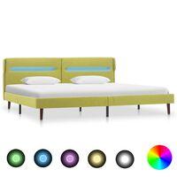 vidaXL Okvir za krevet od tkanine s LED svjetlom zeleni 180 x 200 cm