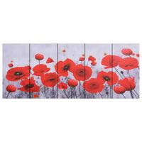 vidaXL Set zidnih slika na platnu s uzorkom cvijeća šareni 200 x 80 cm
