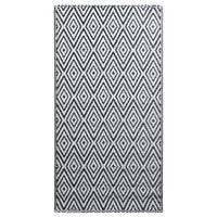 vidaXL Vanjski tepih bijelo-crni 120 x 180 cm PP