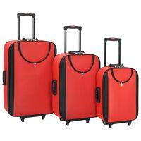 vidaXL Mekani kovčezi s kotačima 3 kom crveni od tkanine Oxford