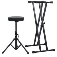 vidaXL Set stalka za klavijature s dvostrukim nosačem i stolcem crni