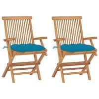 vidaXL Vrtne stolice sa svjetloplavim jastucima 2 kom masivna tikovina