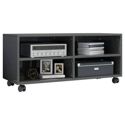 vidaXL TV ormarić s kotačima visoki sjaj sivi 90x35x35 cm od iverice