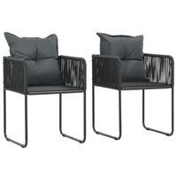vidaXL Vrtne stolice s jastucima od poliratana 2 kom crne