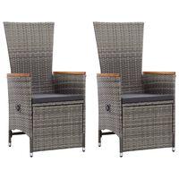 vidaXL Nagibne vrtne stolice s jastucima 2 kom od poliratana sive
