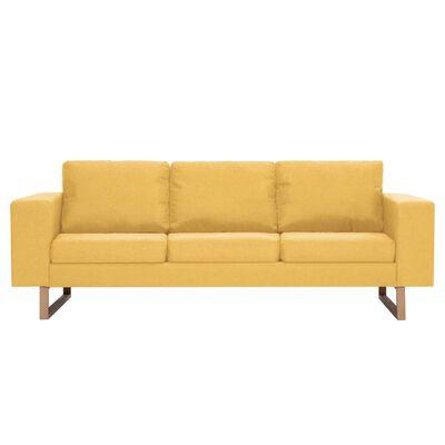 vidaXL Trosjed od tkanine žuti
