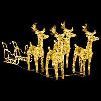 vidaXL Božićni ukrasni sobovi sa saonicama 280 x 28 x 55 cm akrilni