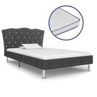 vidaXL Krevet od tkanine s memorijskim madracem tamnosivi 90 x 200 cm