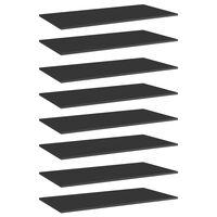 vidaXL Police za knjige 8 kom visoki sjaj crne 80x20x1,5 cm iverica