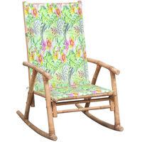 vidaXL Stolica za ljuljanje od bambusa s jastukom