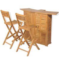 vidaXL 3-dijelni bistro set sa sklopivim stolicama od masivne tikovine