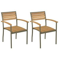 vidaXL Vrtne složive stolice 2 kom masivno bagremovo drvo i čelik