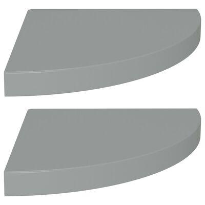 vidaXL Plutajuće kutne police 2 kom sive 35 x 35 x 3,8 cm MDF