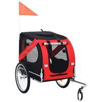 vidaXL Prikolica za bicikl za psa crveno-crna