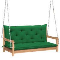 vidaXL Klupa za ljuljanje sa zelenim jastukom 120 cm masivna tikovina