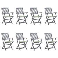 vidaXL Sklopive vrtne stolice s jastucima 8 kom masivno bagremovo drvo