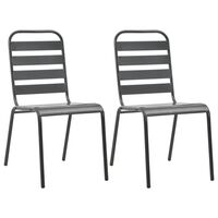 vidaXL Složive vrtne stolice 2 kom čelične sive