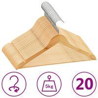 vidaXL 20-dijelni set vješalica za odjeću protuklizni od tvrdog drva