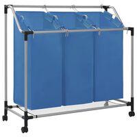 vidaXL Košara za rublje s 3 vreće plava čelična